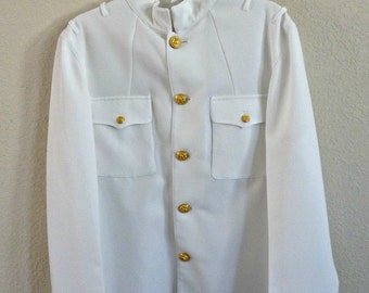 US Navy Officer Dress White Jacket with Gold Eagle Buttons USN Choker Uniform 43L 1980's Vintage