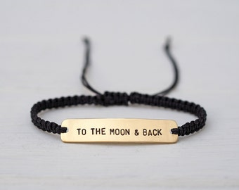 To The Moon & Back Sterling Silver or Brass and Macramé Bracelet, Choice Of Colours Available. Custom Friendship Bracelet
