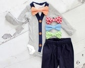 Baby Boy Outfit Set of up to 3 Items. Cardigan Bodysuit, Bow Tie Bodysuit, & Leg Warmers. 1st Birthday Outfit Tie Onesie, Holiday, Fall