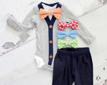 Baby Boy Outfit Set of up to 3 Items. Cardigan Bodysuit, Bow Tie Bodysuit, Leg Warmers. 1st Birthday Outfit Tie Onesie, Easter Mother's Day