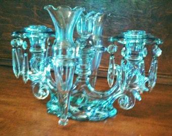 Candelabra Vase - Vintage Antique Romantic clear glass