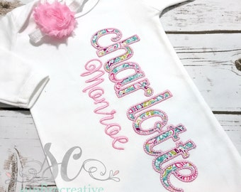 Baby Girl Coming Home Outfit - Personalized Baby Gown - Baby Girl Bring Home Outfit - Newborn Sleeper - Unique Baby Clothes - Monogrammed