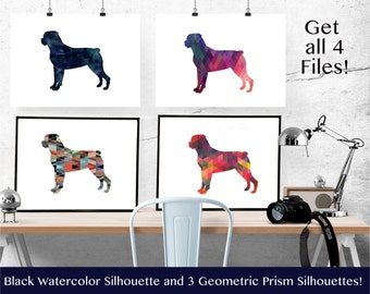 Rottweiler - Geometric Pattern Silhouette from Breed Collection - Digital Download Printable - Frameable 8x10