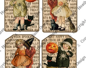 Primitive Shabby Chic Vintage Postcard Halloween Pumpkin Witch Card Front DIY Victorian Digital Collage sheet Printable DIY Tags
