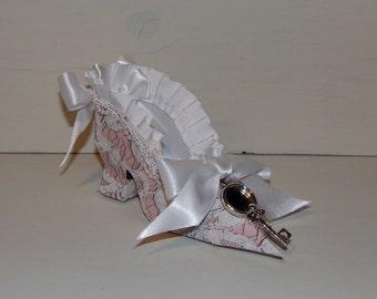 Paper Shoe Favor, Pink Lace Victorian High Heel Paper Keepsake Shoe