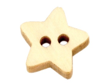 200 pcs Star Light Natural Wood Buttons- 13mm (0.51 in) - 2 holes - Sewing, Scrapbook