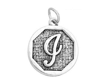 "1 or 4 pcs. Antique Silver LARGE Letter ""I"" Alphabet Letter Charm Pendant -  23mm x 20mm - Stamped Design"