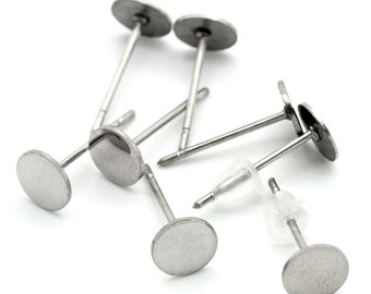 100 pieces (50 pairs) 304 Stainless Steel Earring Posts/Bases/Posts/Settings with Rubber Backs - 13mm x 6mm