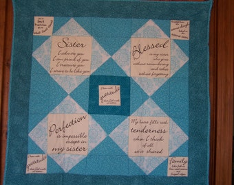 Turquoise Sister Quilted Wall Hanging