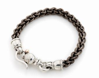 BRACELET TITANIUM  silver/ round links handmade / men's titanium bracelet/ women's titanium bracelet/ handmade titanium links bracelet/