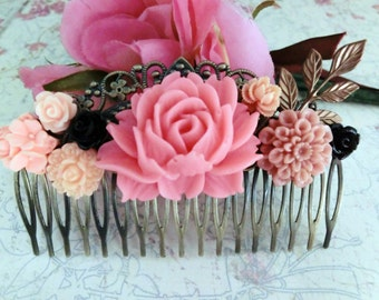 Pink flowers antique filigree haircomb. Lovely gift for her. Wedding,Birthday, Christmas.