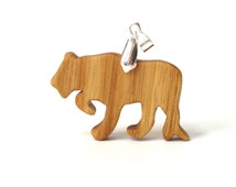 Panther Necklace Mountain Lion Jewelry Cougar Pendant Canarywood Hand Cut Scroll Saw Animal Pendant