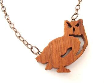 Owl Bird Necklace Wood Animal Jewelry Jatoba Hand Cut Scroll Saw