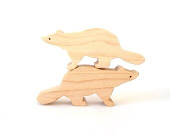 Raccoon Wood Toys Waldorf  Miniature Wooden Noah's Ark Animals Zoo Woodland Play Set Hand Cut Scroll Saw