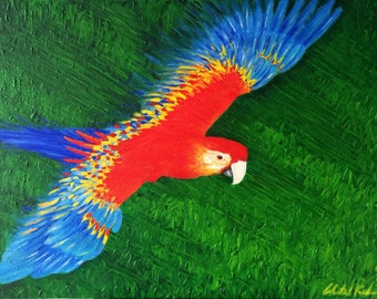Flying Parrot - Acrylic Painting