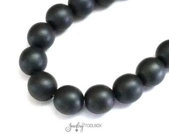 Black Czech Glass Beads, 10mm Round Black Beads, Matte Black Beads, 1 Strand of 16 Beads, #BLK 10