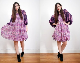 Vintage Indian Floral Gauze Cotton Boho Dress Balloon Sleeve Hippie Dress 70's