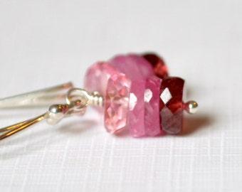 Pink Ombre Earrings, Drop Earrings, Sterling Silver, Red Garnet Gemstones, Pink Sapphire, Pink Topaz Jewelry, Free Shipping