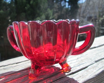 Vintage Ruby Red Depression Glass Imperial Pillar Flute 3-footed sugar