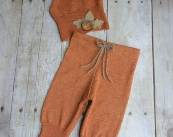 Newborn Boy Photo Prop Hat and Pant Set - Newborn Upcycled Outfit - Heather Orange with Natural Burlap Autumn Leaves - READY TO SHIP
