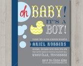Printable Baby Shower Invitation - Boy - Ducky Chevron