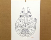 Watercolor/Ink-Star Wars-Millennium Falcon (B&W)