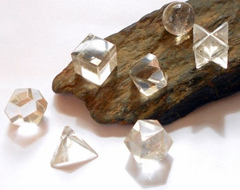 Clear Quartz Sacred Geometry Platonic Solids Set Reiki Crystal earthegy #2115