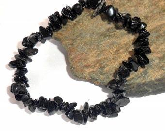 Black Tourmaline Chip Stretch Bracelet Adjustable earthegy