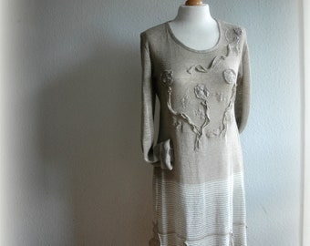 Grey Dress Tunic LINEN Knitted  Unique Long Sleeved Eco Friendly Natural Clothing Eco Style Woman's Clothing Casual Woman's Size M XL
