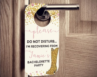 Door Hangers with Cowboy Boot and Glitter Confetti Design - Bachelorette or Birthday Parties - Set of 10 Custom Door Tags for Hotel Guests