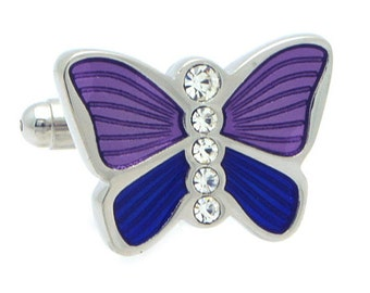 Purple Butterfly with Crystal Cufflinks