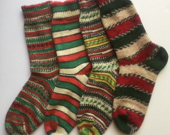 Christmas Wool Socks, Fair Isles, Stripes, Hand Cranked