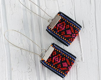 Red dangle earrings, red fabric earrings, bohemian earrings, embroidered ethnic earrings, Christmas gift