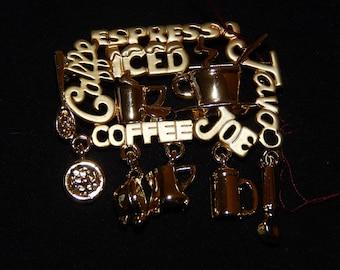 Barista Brooch Coffee Caffe Espresso Joe Java Charms Gold Tone