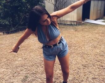 Festival Outfit Matching set cotton linen blue bralette halter crop top and high waist racer shorts