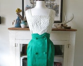 high waist skirt, body con 80s, kelly green, XS from Japan
