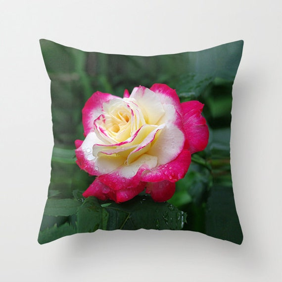 Cream Floral Throw Pillows : Rose throw pillow cover red cream floral mother s day