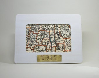 Finger Lakes Map Framed with Hand Stamped Date on Brass Vacation Hostess Gift