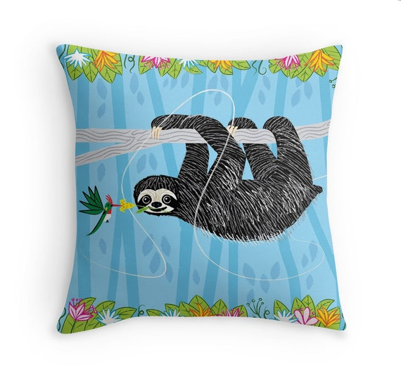"The Sloth and The Hummingbird - illustrated Pillow Cover / Throw Cushion Cover - Children's room - Home Decor - (16"" x 16"") by Oliver Lake"
