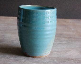 Stoneware Tumbler, 10 oz (300 ml) Handmade Turquoise Blue Cup