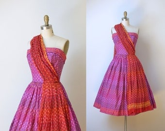 1950s Carolyn Schnurer Dress / 50s Halter Dress Sundress