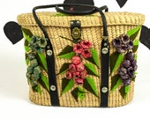 60's large raffia turnlock picnic basket purse 1960's 3D floral embroidered tropical beach tote bag / pink / green / latching lid carryall