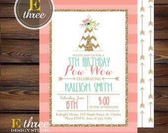 Teepee Birthday Party Invite - Girl's Birthday Invitation - Indian Tribal Party - Pink, Mint, Gold Glitter Birthday Invitations - Arrows