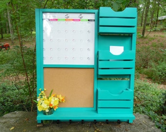 Command Center/Dry Erase Magnetic Calendar/Message center/Corkboard Center/Message Board/Mail Holder .