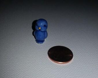 1 blue baby bird chick Miniature Bug House Japan Doll Garden House Fairy Tiny Animal Bone China ceramic