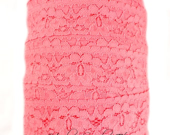 Coral Lace Elastic 1 inch for Baby Headbands, Hair Elastic, Elastic Headband, Elastic Lace, Lace Hairbands, Lace Trim, Lace Headband