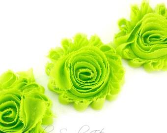 Apple Green Shabby Flowers 2-1/2 inches -  Shabby Trim, Flower Headband, Fabric Flower, Shabby Rose Trim by the yard