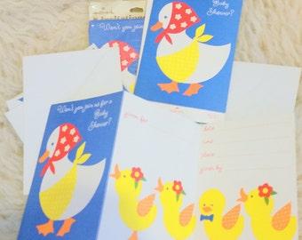 1970's Vintage Baby Shower Invitations: Hallmark 15 Cards w/ Envelopes FREE SHIPPING