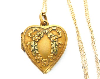 Valentine Necklace, Vintage French Heart Locket