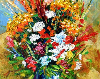 ORIGINAL Oil Painting Impasto painting Flowers painting oil on canvas painting modern painting  Palette Knife Bright Textured ART MARCHELLA